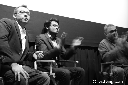 (l-r) Fatakra director Soham Mehta, Samrat Chakrabarti and NYIFF Festival director Aseem Chhabra at the Q & A after the screening of the film at Tribeca Cinemas on May 7, 2011.  Photo by Lia Chang