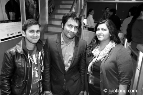 Raju writer/director Shiva Shankar Bajpai, Samrat Chakrabarti and producer Samina Akbari in the lobby of Tribeca Cinemas at the 11th Annual New York Indian Film Festival in New York on May 7, 2011. Photo by Lia Chang