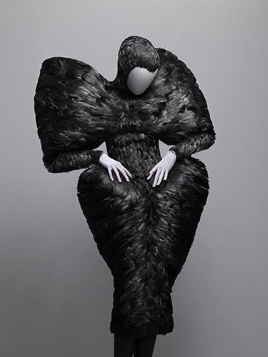 Alexander McQueen (British, 1969–2010), Dress, The Horn of Plenty, autumn/winter 2009–10, Black duck feathers, Courtesy of The Metropolitan Museum of Art, Photograph © Sølve Sundsbø/Art + Commerce