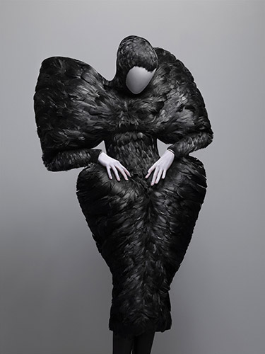 Alexander McQueen (British, 1969–2010), Dress, The Horn of Plenty, autumn/winter 2009–10, Black duck feathers, Courtesy of The Metropolitan Museum of Art, Photograph © Sølve Sundsbø/Art + Commerce