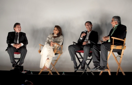 (L-R) Rishi Kapoor, Neetu Singh Kapoor, director Habib Faisal, and NYIFF director Aseem Chhabra at the post-screening Q&A. Photo credit: MichaelToolan.com