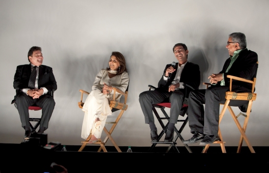 (L-R) Rishi Kapoor, Neetu Singh Kapoor, director Habib Faisal, and NYIFF director Aseem Chhabra at the post-screening Q&A. Photo credit: MichaelToolan.com