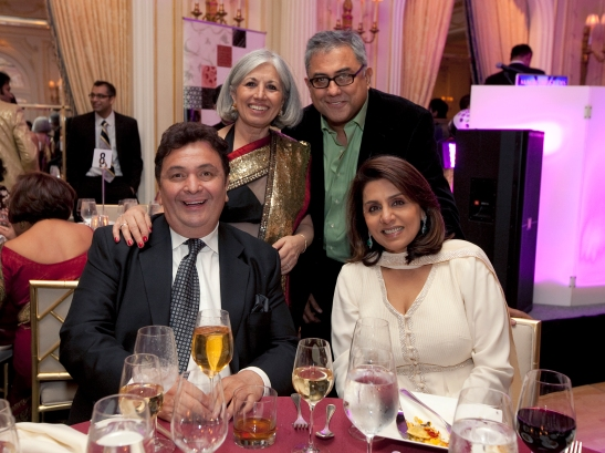 (standing L-R) IAAC Executive Director Aroon Shivdasani and NYIFF director Aseem Chhabra. (seated L-R) Rishi Kapoor and Neetu Singh Kapoor at the gala dinner.  Photo credit: MichaelToolan.com