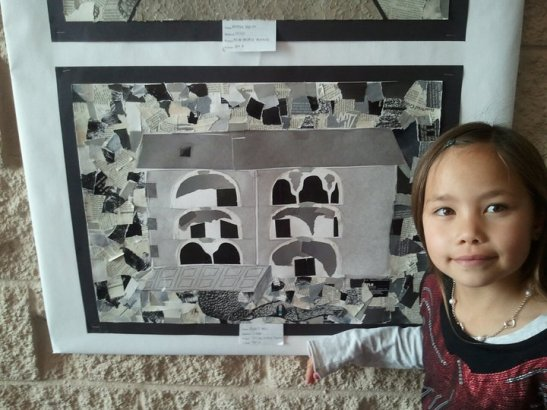 Mya Lagadaon poses with Asia Flores's Project: Tell me another morning/ Collage, 2011. Photo by Marissa Chang-Flores