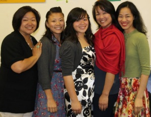 Asia Flores is flanked by her mother Marissa Chang-Flores and Aunties Karina Umehara, Tami Chang and Lia Chang.