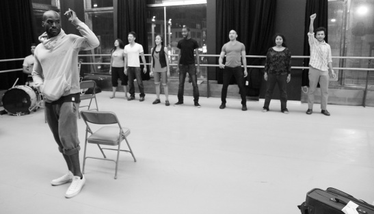 The cast of Bakwas Bumbug in rehearsal at DANY Studios in New York on 6/16/11. © 2011 Lia Chang
