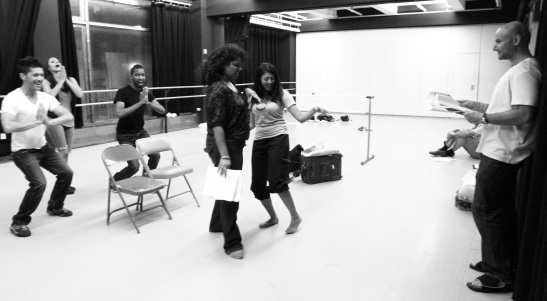 The cast of Bakwas Bumbug with co-creator and co-director Sanjiv Jhaveri in rehearsal at DANY Studios in New York on 6/16/11. © 2011 Lia Chang