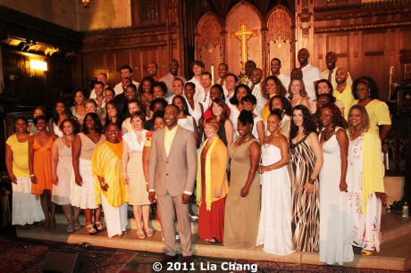 "Broadway Inspirational Voices, a popular gospel choir made up of Broadway singers, raised the roof during Wondrous Grace, their ""summer celebration of song,"" at the Central Presbyterian Church in New York on June 20, 2011. © 2011 Lia Chang"