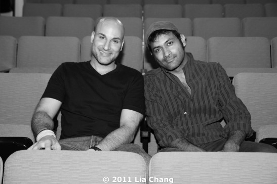 Sanjiv Jhaveri and Samrat Chakrabarti, co-creators and co-directors of Bakwas Bumbug at The Wild Project in the East Village after the opening night performance on June 22, 2011. Photo by Lia Chang