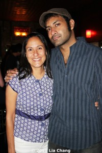 Sakina Jaffrey congratulates Samrat Chakrabarti after the opening night performance of Bakwas Bumbug at The Wild Project in the East Village on June 22, 2011. © 2011 Lia Chang