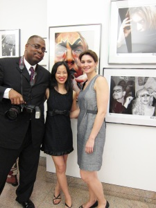 Gregory Pierre Mink, NYC Health and Hospitals Corporation Art Collection Art Administrator, artist Lia Chang, and Elizabeth Youngbar, HHC's Assistant Art Administrator at the HHC's New York City: IN FOCUS, Vol. 2 Exhibit opening reception at Bellevue Hospital in New York on June 23, 2011.  Photo by Brianne Michelle Photography