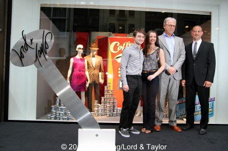 How To Succeed in Business Without Really Trying' stars Daniel Radcliffe, Rose Hemingway and Tony winner John Larroquette were greeted by Rich Weiner, Regional Vice President of Stores for Lord & Taylor, as they stepped out on Fifth Ave on June 23, 2011, for the unveiling of the Lord  & Taylor Flagship Store Fifth Avenue windows filled with fashions inspired by their hit Broadway revival. Photo by Lia Chang/Lord & Taylor