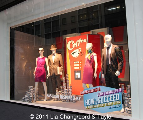 "Lord & Taylor Flagship Store Fifth Avenue windows filled with fashions inspired by the Broadway Revival ""How To Succeed in Business Without Really Trying"" starring Daniel Radcliffe, Rose Hemingway and Tony winner John Larroquette. Photo: ©  Lia Chang/Lord & Taylor"