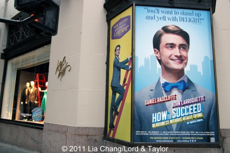 """Lord & Taylor Flagship Store Fifth Avenue windows filled with fashions inspired by the Broadway Revival """"How To Succeed in Business Without Really Trying"""" starring Daniel Radcliffe, Rose Hemingway and Tony winner John Larroquette. Photo: ©  Lia Chang/Lord & Taylor"""