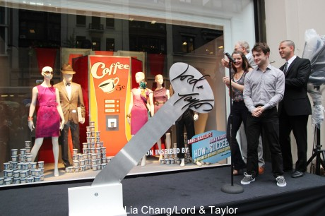 How To Succeed in Business Without Really Trying' stars Daniel Radcliffe, Rose Hemingway and Tony winner John Larroquette with Rich Weiner, Regional Vice President of Stores for Lord & Taylor, at the unveiling of the Lord & Taylor Flagship Store Fifth Avenue windows filled with fashions inspired by their hit Broadway revival, on Thursday, June 23, 2011 in New York. Photo by Lia Chang/Lord & Taylor
