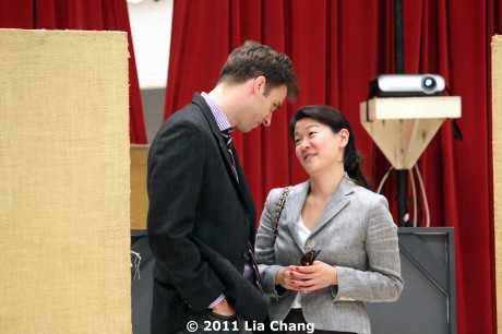(L-R) James Waterston (Daniel) and Jennifer Lim (Xu Yan) rehearsing a scene of David Henry Hwang's Chinglish in the Healy Room of the Goodman Theatre in Chicago on June 5, 2011. © 2011 Lia Chang