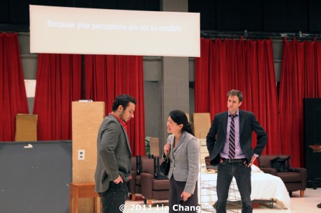 (L-R) Stephen Pucci (Peter), Jennifer Lim (Xu Yan), and James Waterston (Daniel) rehearsing a scene for Chinglish in the Healy Room of the Goodman Theatre in Chicago on June 5, 2011. © 2011 Lia Chang