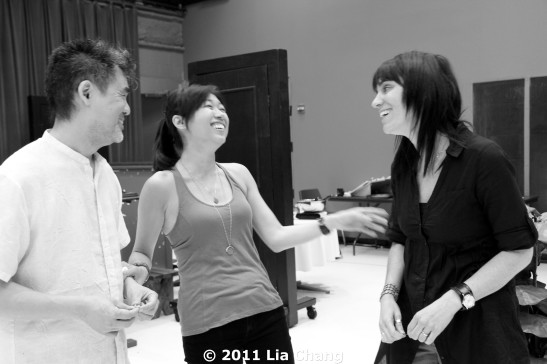 Chinglish Playwright David Henry Hwang, Angela Lin and director Leigh Silverman have a good laugh during a break from rehearsal in the Healy Rehearsal Room of the Goodman Theatre in Chicago on June 5, 2011. © 2011 Lia Chang