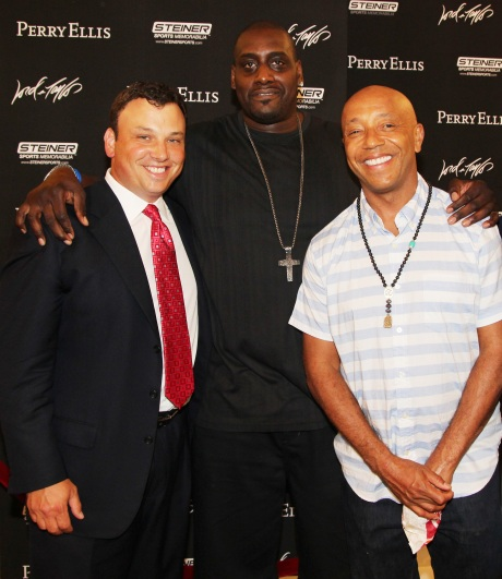 Lord & Taylor CEO Brendan Hoffman, NBA All Star Anthony Mason and Russell Simmons at Lord & Taylor Fifth Avenue's Ultimate Night Out on June 9, 2011.© Lia Chang