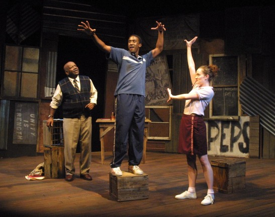 Helmar Augustus Cooper as Mr. M, Daniel Morgan Shelley as Thami Mbikwana and Vanessa K. Wasche as Isabel in My Children! My Africa! by Athol Fugard at the Chautauqua Conservatory Theatre Company, directed by Ralph Zito. Photo courtesy of Daniel Morgan Shelley