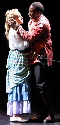 Jennifer Blood (Desdemona) and Daniel Morgan Shelley (Othello) in Oberon Theatre Ensemble's OTHELLO at Off-Broadway's Kirk Theatre @Theatre Row, directed by Cara Reichel. Photo by Ann Bartek