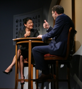 Xu Yan (Jennifer Lim) meets with Daniel (James Waterston) to further discuss his business proposal. credit: Eric Y. Exit