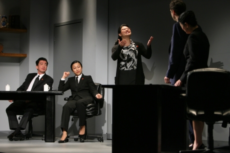 Zhao (Christine Lin) translates between (l to r) Judge Xu Geming (Johnny Wu), Prosecutor Li (Angela Lin), Daniel (James Waterston) and Xu Yan (Jennifer Lim). credit: Eric Y. Exit
