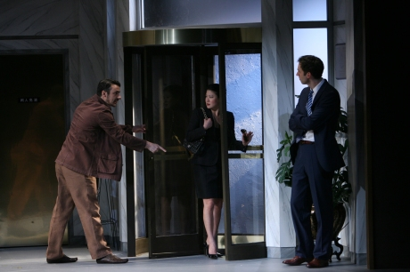 Peter (Stephen Pucci) confronts Xu Yan (Jennifer Lim) and Daniel (James Waterston). credit: Eric Y. Exit