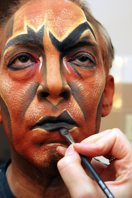 Photo #166 Thom Sesma in makeup on August 23, 2010, at the Mandalay Bay Theatre, where he is currently starring as Scar in Disney's The Lion King Las Vegas. Credit:  Photo from The Lia Chang Theater Portfolio at the Library of Congress/AAPI Collection