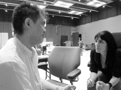 Playwright David Henry Hwang and director Leigh Silverman discussing script changes during a rehearsal for Chinglish in the Healy Room of the Goodman Theatre in Chicago on June 5, 2011. Credit:  Photo from The Lia Chang Theater Portfolio at the Library of Congress/AAPI Collection