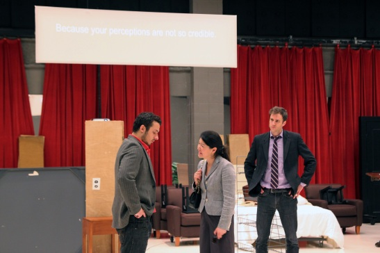 (L-R) Stephen Pucci (Peter), Jennifer Lim (Xu Yan), and James Waterston (Daniel) rehearsing a scene for Chinglish in the Healy Room of the Goodman Theatre in Chicago on June 5, 2011. Credit:  Photo from The Lia Chang Theater Portfolio at the Library of Congress/AAPI Collection