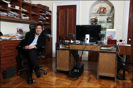 David Henry Hwang at home in his office in Ft. Greene. Photo by Lia Chang