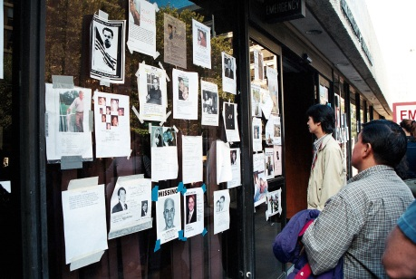 Wall of missing at after 9-11 Photo by Lia Chang