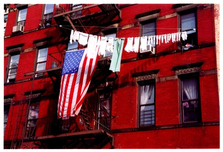 Flag and the clothesline Photo by Lia Chang