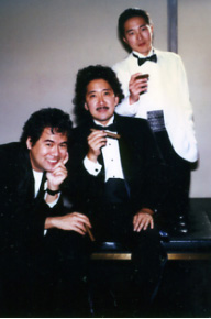 Playwrights David Henry Hwang, Philip Kan Gotanda and Rick Shiomi in San Francisco in 1988. A version of this photo appeared in a feature article in the Feb.- Mar. 1989 edition of Mother Jones.  Photo by Cynthia Wallace