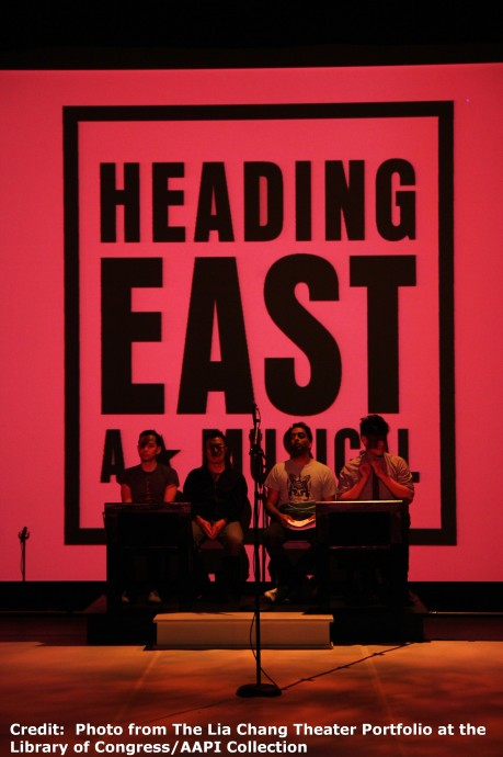 The cast of Robert Lee and Leon Ko's Heading East at the Lila Acheson Wallace Auditorium at Asia Society in New York. Credit:  Photo from The Lia Chang Theater Portfolio at the Library of Congress/AAPI Collection
