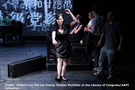 Heading East co-creator Robert Lee rehearses a Peking opera move with actress MaryAnn Hu during a rehearsal at the Lila Acheson Wallace Auditorium at Asia Society in New York.. Credit:  Photo from The Lia Chang Theater Portfolio at the Library of Congress/AAPI Collection