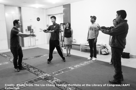 BD Wong, Kelvin Moon Loh, Hazel Anne Raymundo, Manu Narayan rehearse with director Darren Lee at the Lila Acheson Wallace Auditorium at Asia Society in New York.. Photo from The Lia Chang Theater Portfolio at the Library of Congress/AAPI Collection