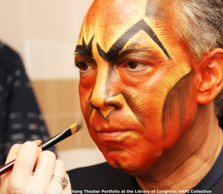 Thom Sesma, who plays Scar in The Lion King Las Vegas at the Mandalay Bay, in his dressing room on August 23, 2010. Photo by Lia Chang  Credit:  Photo from The Lia Chang Theater Portfolio at the Library of Congress/AAPI Collection