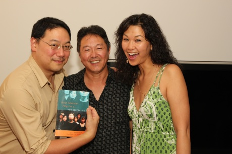 Rick Shiomi with novelist Ed Lin and his wife Cindy Cheung, an actress who read excerpts from the Anthology.  Photo by Lia Chang