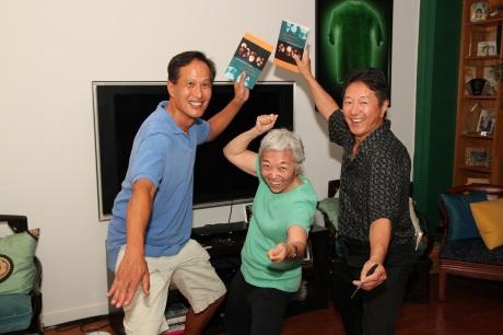 A Soh Daiko reunion for Peter Wong, Teddy Yoshikami and Rick Shiomi  Photo by Lia Chang