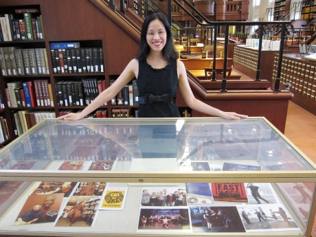 "Lia Chang in the Asian Reading Room of the Library of Congress where her ""In Rehearsal"" display of photographs drawn from the Lia Chang Theater Portfolio are on view through August 23, 2011.  Photo by Reme Grefalda"