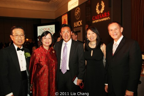 Michael Lin, Del. Mark Keam (D-35) and his wife Alex Seong Keam with with old friends and new at the OCA National Convention Awards Gala Dinner. Photo by Lia Chang