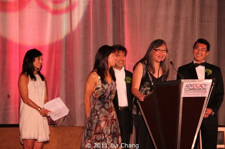 Co-emcees Tamlyn Tomita and David Henry Hwang with OCA convention co-chairs Vicki Shu, June Jee and David Fung.  Photo by Lia Chang