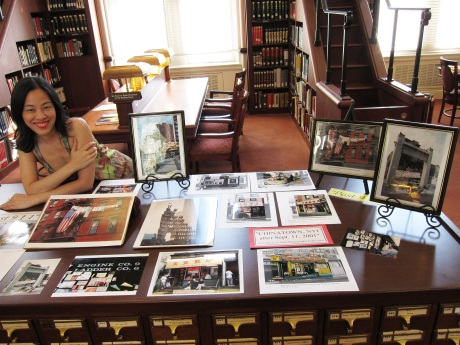 Lia Chang with her portraits of New York Chinatown after 9/11 display in the Asian Division Reading Room of the Library of Congress in the Thomas Jefferson Building in Washington D.C. on September 10, 2011.  Photo by Reme Grefalda