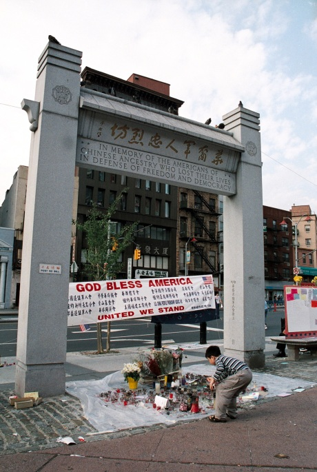 Memorial in Chatham Square after 9-11 Photo by Lia Chang