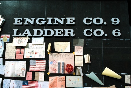 Memorial at the FDNY Firestation in Chinatown after 9-11 photo by Lia Chang