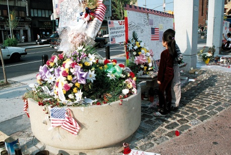 Memorial in Chatham Square after 9-11photo by Lia Chang