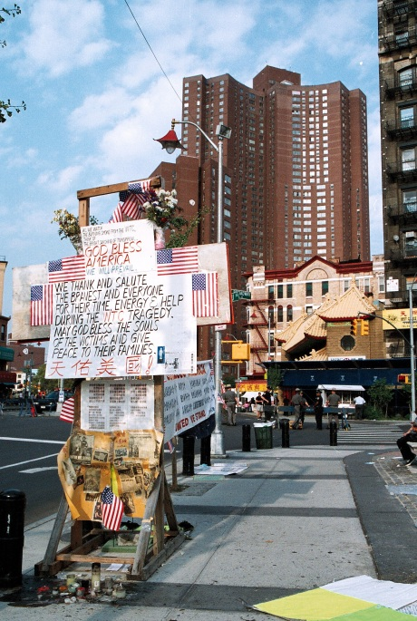 Memorial in the shadow of Confucius Plaza after 9-11Photo by Lia Chang