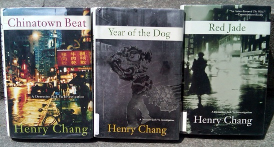 Henry Chang's Chinatown Trilogy:  Chinatown Beat, Year of the Dog and Red Jade.  Photo by Lia Chang